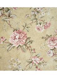 Wallquest Vintage Style Floral Printed Wallpaper, 8.23 x 0.68 Meter, Beige/Pink/Green