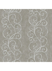 Wallquest Mercer Street Scroll Printed Wallpaper, 10 x 0.53 Meter, Dark Brown/Silver