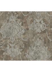 Wallquest Renaissance Damask Wallpaper, 0.52 x 10 Meter, Dark Brown/Grey