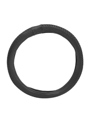 Xcessories Leather Type Woven Steering Wheel Cover, Black