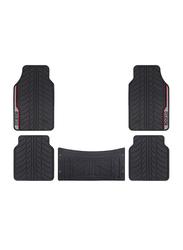 Sparco PVC Car Floor Mat Set, Universal Size, 5 Pieces, Black/Red