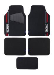 Sparco Carpet Car Floor Mat Set, Universal Size, 5 Pieces, Black/Red