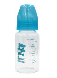 Permanenza Standard Neck Glass Feeding Bottle, 120ml, Blue