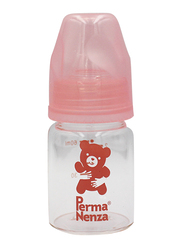 Permanenza Standard Neck Glass Feeding Bottle, 60ml, Pink