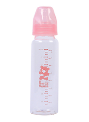 Permanenza Standard Neck Glass Feeding Bottle, 240ml, Pink