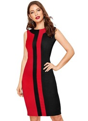 Casual Sleeveless Straight Cut Dress, Large, Red/Black