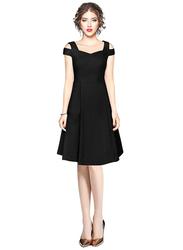 Fit & Flare Solid Color Dress for Women, Large, Black