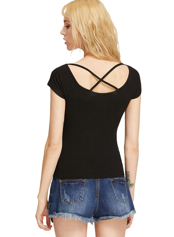 Plain Short Sleeve T-shirt with Cross Front and Back for Women, Medium, Black