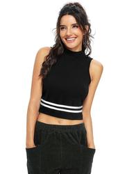 Trendy Crop Top for Women, X-Large, Black