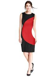 Sleeveless One Piece Straight Cut Dress, Large, Red/Black