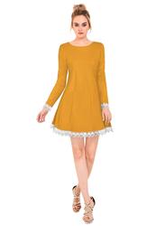 Frill One Piece Dress for Women, Medium, Yellow/White
