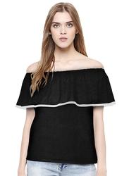 Casual Off Shoulder Solid Color Top for Women, Medium, Black
