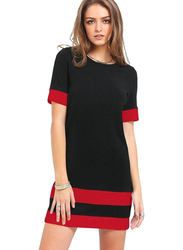 Half Sleeve T-Shirt Dress for Women, Extra Large, Black/Red
