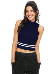 Trendy Crop Top for Women, X-Large, Navy Blue