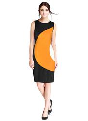 Sleeveless Dress for Women, Large, Black/Yellow