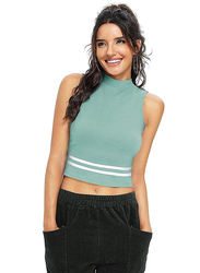 Trendy Crop Top for Women, X-Large, Light Green