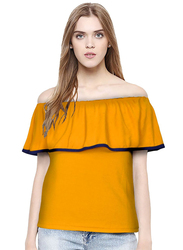 Casual Off Shoulder Solid Color Top for Women, Medium, Yellow