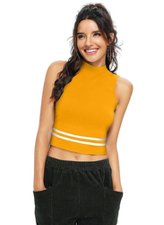 Trendy Crop Top for Women, X-Large, Yellow