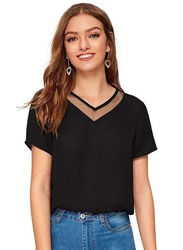 Casual Half Sleeve Solid Top for Women, Medium, Black