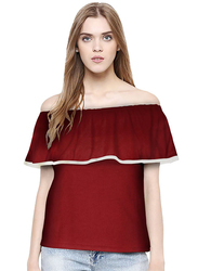 Casual Off Shoulder Solid Color Top for Women, Medium, Maroon