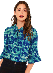 Multicolored Bell Sleeves Top for Women, Extra Large, Blue
