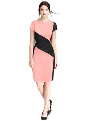 Women's Knee Length Bodycon Dress, Medium, Peach/Black