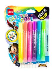 Deli EA71301 Neon Glitter Glue, 6 Pieces, 12ml, Multicolor