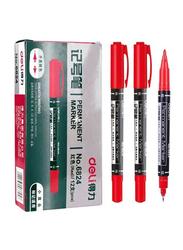 Deli 12-Piece Twin Marker, Red