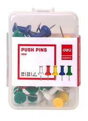 Deli Essential Push Pins, 35 Pieces, 23mm, 0021, Assorted Colors