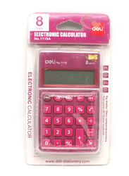 Deli 8-Digit Small Calculator, E1119A, Red