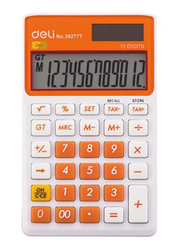 Deli 12-Digit Basic Calculator, Small, 39277T, Orange