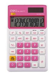 Deli 12-Digit Basic Calculator, Small, 39277T, Pink