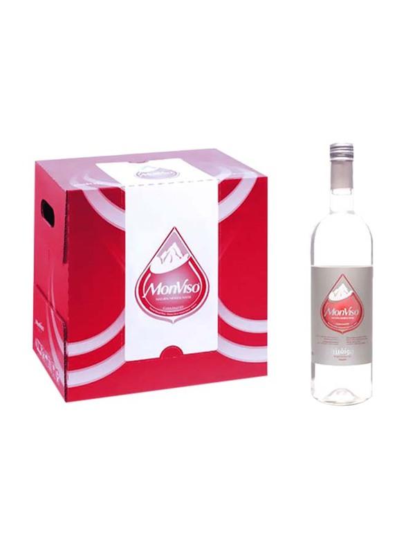 Monviso Natural Mineral Sparkling Water, 12 Glass Bottles x 750ml