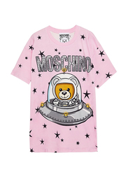 Moschino UFO Teddy Crew Neck Short Sleeve T Shirt for Women, Medium, Pink