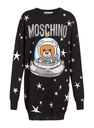 Moschino UFO Teddy Crew Neck Long Sleeves Mini Dress Jumper for Women, Double Extra Small, Black
