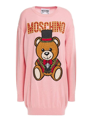 Moschino Wool Teddy Circus Crew Neck Long Sleeves Sweater Jumper for Women, Extra Small, Pink