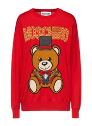 Moschino Wool Teddy Circus Crew Neck Long Sleeves Sweater Jumper for Women, Extra Small, Red