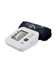 Digital LCD Display Automatic Upper Arm Blood Pressure Monitoring Portable Sphygmomanometer, White