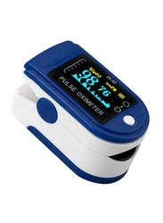 Reliable Fingertip Pulse Oximeter Heart Rate Monitor, Blue/White