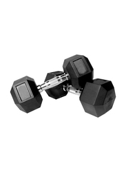 Prosportsae Rubber Hex Dumbbell, 2 Pieces, 5KG, Black