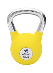 TA Sports Rubber Coated Kettlebell, Yellow, 10KG