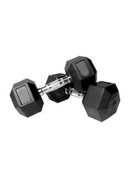 Prosportsae Rubber Hex Dumbbell, 2 Pieces, 22.5KG, Black