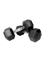 Prosportsae Rubber Hex Dumbbell, 2 Pieces, 17.5KG, Black