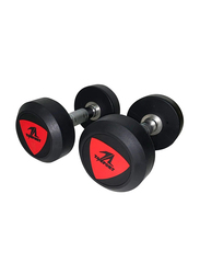 TA Sports Round Head Deluxe Rubber Dumbbells, 2 Pieces, 10KG, Black