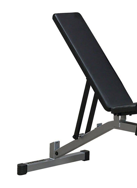 Body Solid USA Adjustable Flat /Incline/Decline Bench for Workout, PFID-130X, Grey/Black