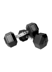 Prosportsae Rubber Hex Dumbbell, 2 Pieces, 20KG, Black