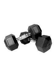 Prosportsae Rubber Hex Dumbbell, 2 Pieces, 25 Lbs, Black