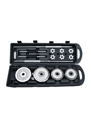 Prosportsae All In one Adjustable Barbell and Dumbbell Set, with Protective Carrying Case with Wheel, 50KG, Silver