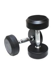 Prosportsae Rubber Round Dumbbell, 2 Pieces, 22.5KG, Black
