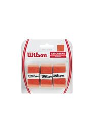Wilson Advantage Absorbent Overgrip Set for Tennis Racket, 3 Piece, Orange